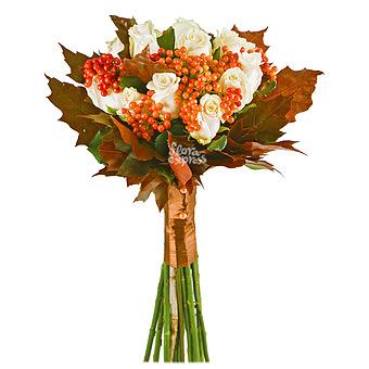 Букет Кленовый лист: Розы и вибурнум
