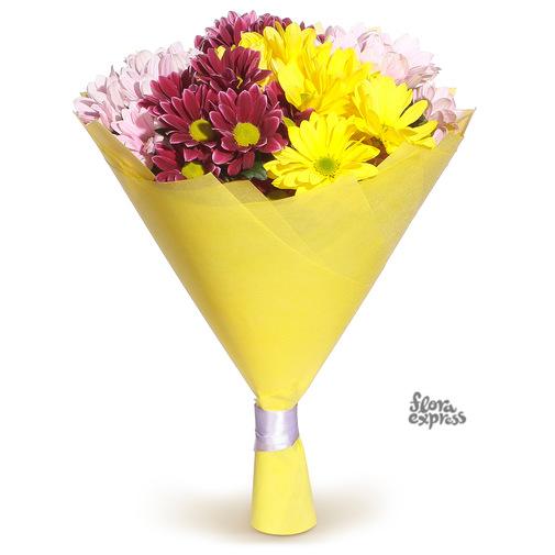 Разноцветные хризантемы - изображение букета 2