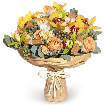 Букет Орхидеи и розы капучино