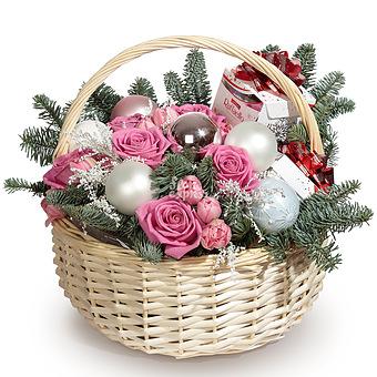 Букет Новогодний тандем: Розы и тюльпаны