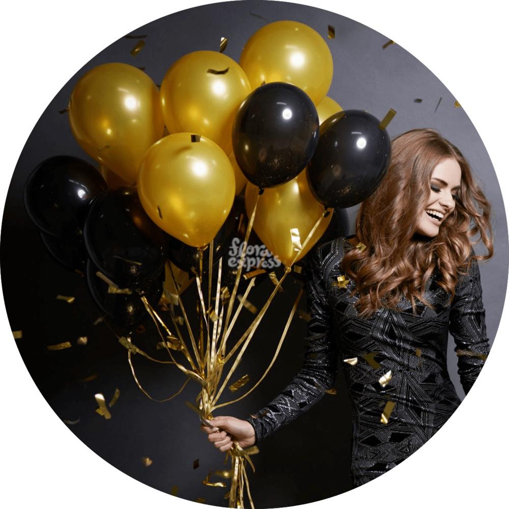 Букет «Flora Express» Связка желтых и черных шаров фото