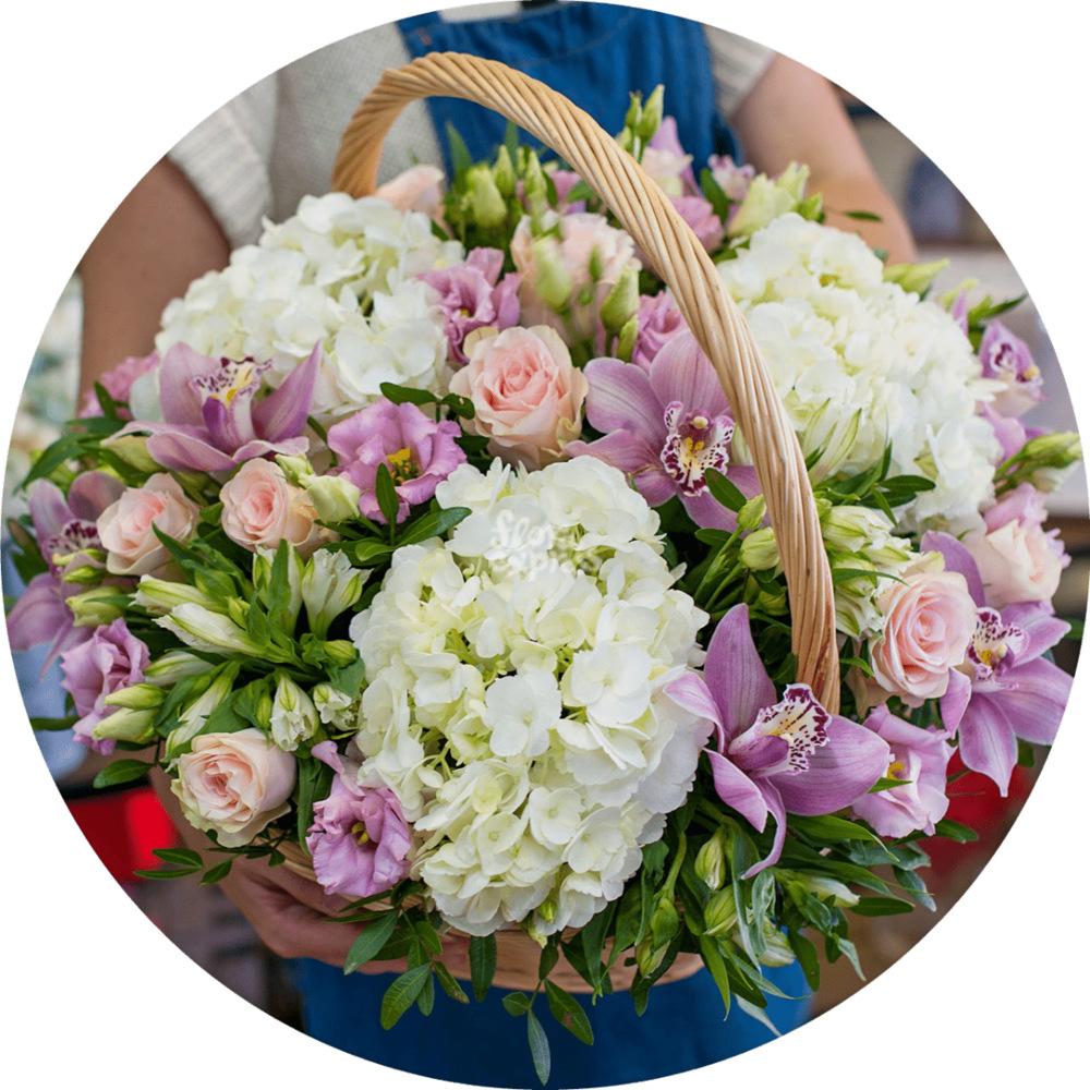 Букет «Flora Express», Корзина с гортензиями и орхидеей